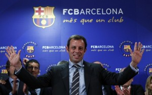 New FC Barcelona's president Sandro Rosell celebrates after winning the elections in Barcelona