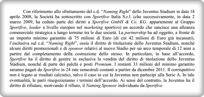 juventus sportfive contratto naming rights