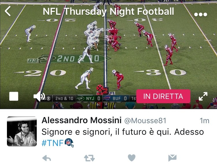 twitter streaming partite nfl