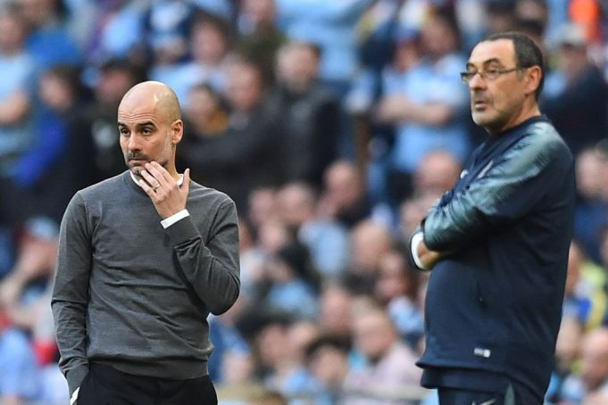 Pep Guardiola e Maurizio Sarri (Photo GLYN KIRK/AFP/Getty Images)