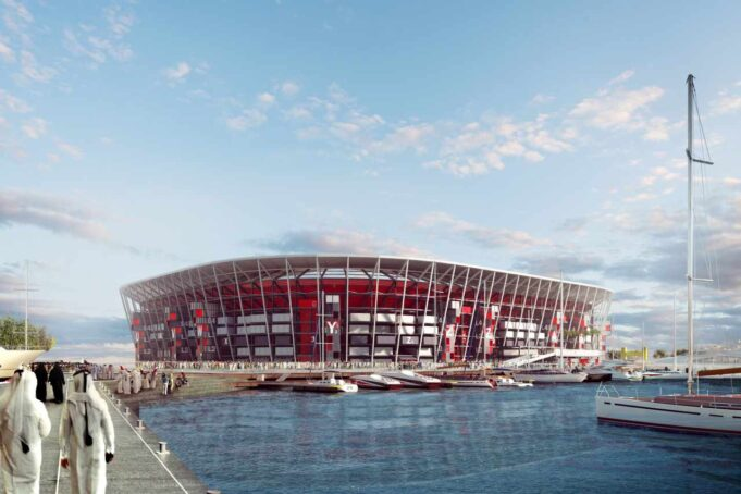 Il progetto del Ras Abu Aboud stadium di Doha in Qatar. (Illustration provided by 2022 Supreme Committee for Delivery and Legacy via Getty Images)